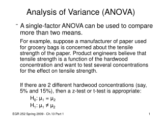 Chapter 13, Part A  Experimental Design and Analysis of Variance