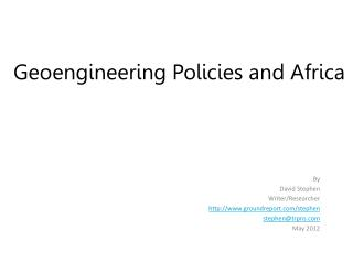 Geoengineering Policies and Africa