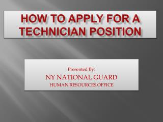 How to apply for a technician position