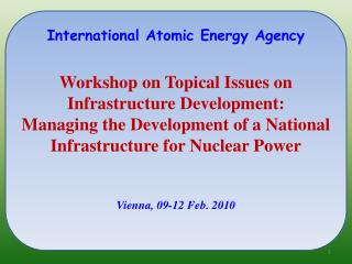 International Atomic Energy Agency    Workshop on Topical Issues on Infrastructure Development:  Managing the Developmen