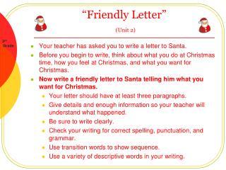 Friendly Letter   Unit 2