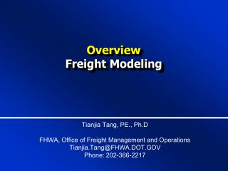 Overview Freight Modeling