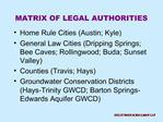 MATRIX OF LEGAL AUTHORITIES