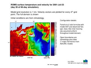 ROMS surface temperature and velocity for 2001-Jul-23  day 20 of 60-day simulation.  Model grid resolution is 1 km. Velo