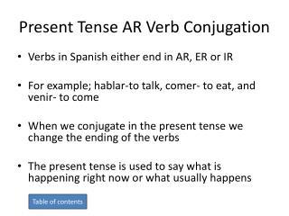Present Tense AR Verb Conjugation
