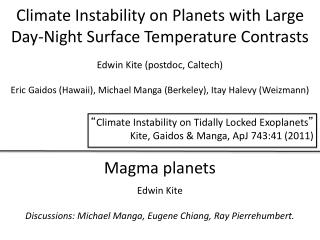 Climate Instability on Planets with Large Day-Night Surface Temperature Contrasts