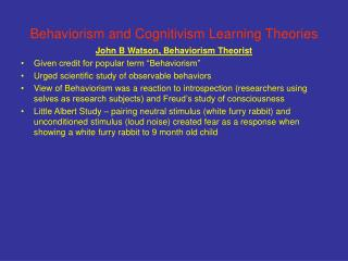 Behaviorism and Cognitivism Learning Theories