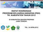 RAPAT KOORDINASI PROGRAM KELUARGA HARAPAN PKH TK. KABUPATEN TAHUN 2012