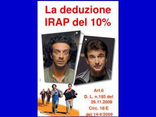 La deduzione IRAP del 10