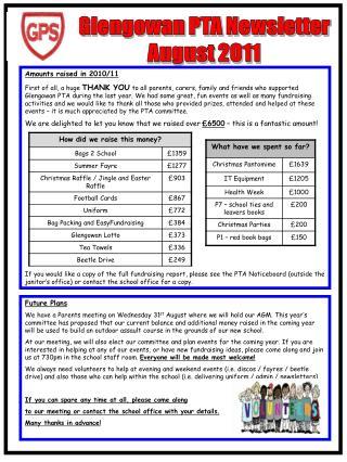 Glengowan PTA Newsletter August 2011