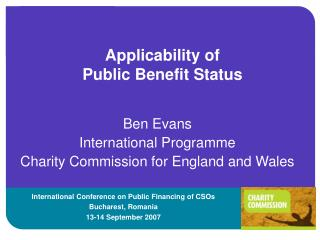 Applicability of  Public Benefit Status
