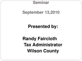 Advanced Personal Property Seminar  September 13,2010
