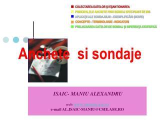 ISAIC- MANIU ALEXANDRU  web amaniu.ase.ro e-mail AL.ISAIC-MANIUCSIE.ASE.RO
