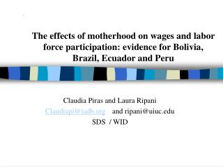 The effects of motherhood on wages and labor force participation: evidence for Bolivia