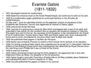 Evariste Galois  1811-1832