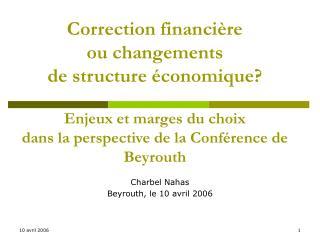 Correction financi re  ou changements  de structure  conomique   Enjeux et marges du choix  dans la perspective de la Co