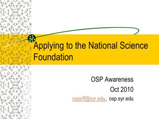 Applying to the National Science Foundation