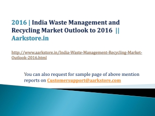 India Waste Management and Recycling Market Outlook to 2016