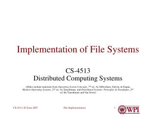 Implementation of File Systems