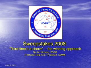Sweepstakes 2008:  Third time s a charm    the winning approach By Jim Nitzberg, WX3B Technical Help from Ty Stewart, K3