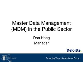 Master Data Management MDM in the Public Sector