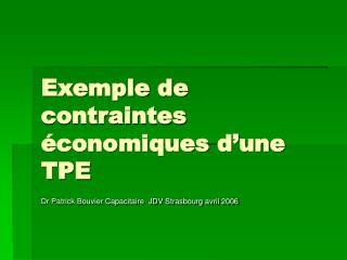 Exemple de contraintes  conomiques d une TPE