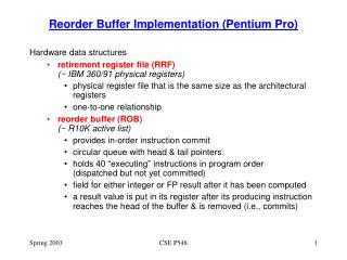 Reorder Buffer Implementation Pentium Pro
