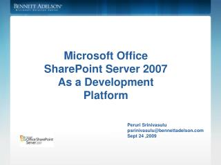 Microsoft Office SharePoint Server 2007 As a Development Platform