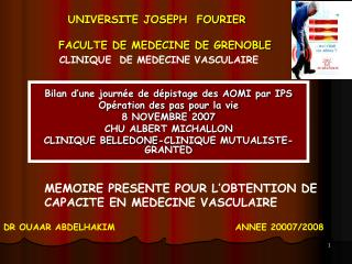 UNIVERSITE JOSEPH  FOURIER   FACULTE DE MEDECINE DE GRENOBLE