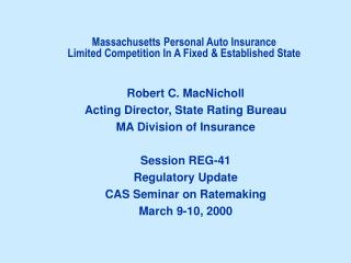 Massachusetts Personal Auto Insurance