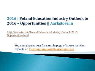 Poland Education Industry Outlook to 2016 - Opportunities a