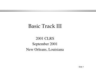 2001 CLRS September 2001 New Orleans, Louisiana