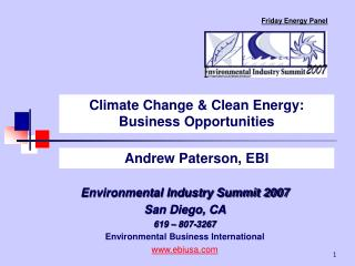 Climate Change  Clean Energy: Business Opportunities