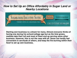 How to Set Up an Office Affordably in Sugar Land or Nearby L