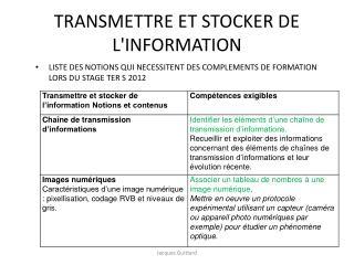 TRANSMETTRE ET STOCKER DE LINFORMATION