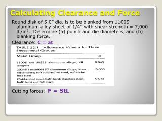 Calculating Clearance and Force