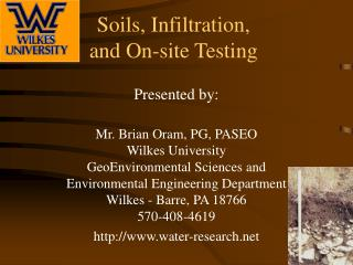 Soils, Infiltration,  and On-site Testing