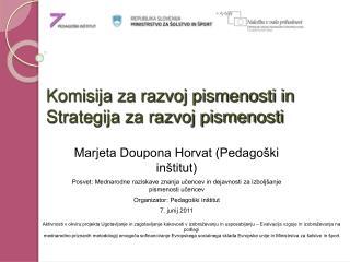 Komisija za razvoj pismenosti in  Strategija za razvoj pismenosti