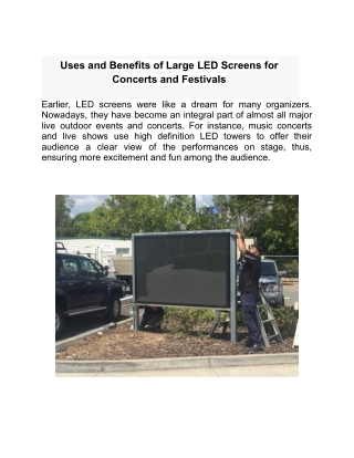 Uses and Benefits of Large LED Screens for Concerts and Festivals