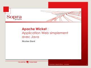 Apache Wicket :  Application Web simplement avec Java