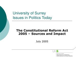 University of Surrey Issues in Politics Today