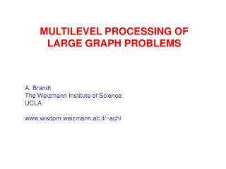 MULTILEVEL PROCESSING OF LARGE GRAPH PROBLEMS