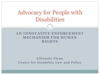 Advocacy for People with Disabilities