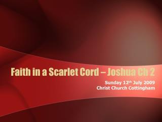 Faith in a Scarlet Cord   Joshua Ch 2