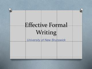 Effective Formal Writing