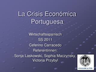 La Crisis Econ mica Portuguesa