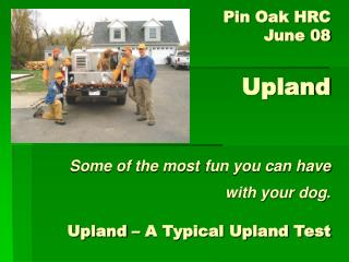Pin Oak HRC  June 08   Upland    Some of the most fun you can have with your dog.   Upland   A Typical Upland Test