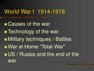 World War I  1914-1918