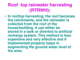 Roof  top rainwater harvesting RTRWH: