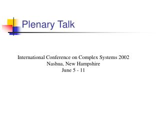 Plenary Talk